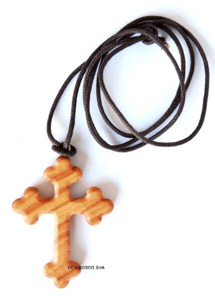 画像1: ペンダント オリーブ製 ゴシック十字架 (大) (1)