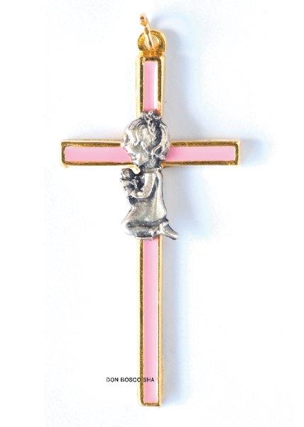 画像1: ミニ十字架 初聖体子ども女の子 ピンク (1)