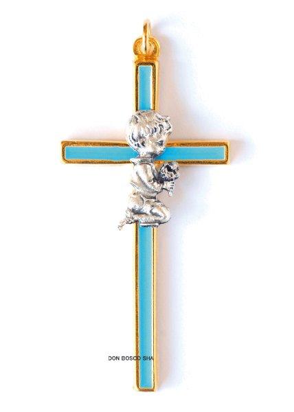 画像1: ミニ十字架 初聖体子ども男の子 水色 (1)