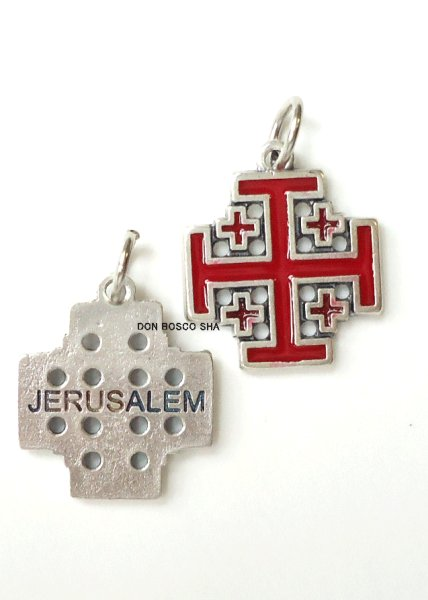 画像1: ミニ十字架 エルサレム十字架 銀+赤 (1)