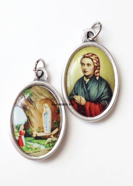 画像1: 両面メダイ ルルドの聖マリア&ベルナデッタ (1)