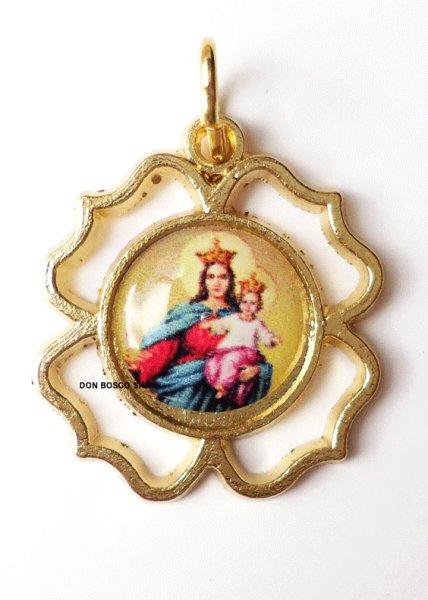 画像1: メダイ 四葉型抜き 扶助者聖母 (1)