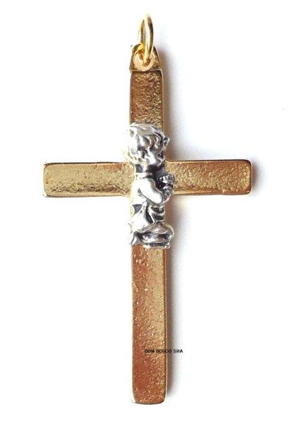 画像1: ミニ十字架 初聖体 男の子 (1)
