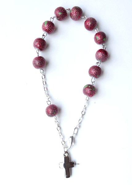 画像1: ロザリオブレスレット ガラスラメ珠 赤 (1)