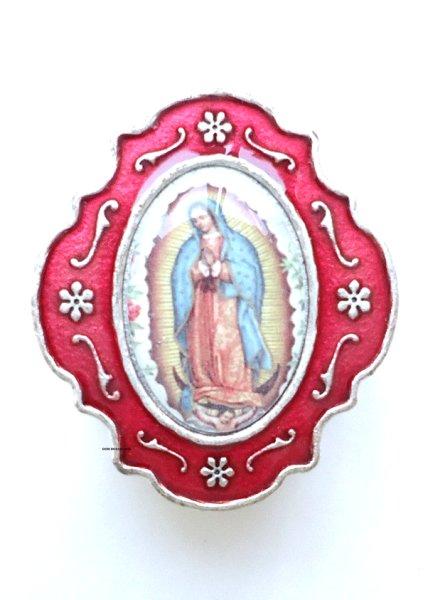 画像1: 小物入れ銀色(赤)グアダルペの聖母 (1)