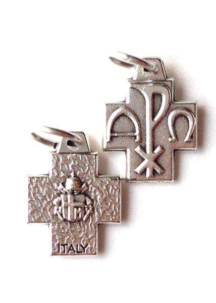 画像1: ミニ十字架 PX+アルファとオメガ 裏バチカン紋章 (1)