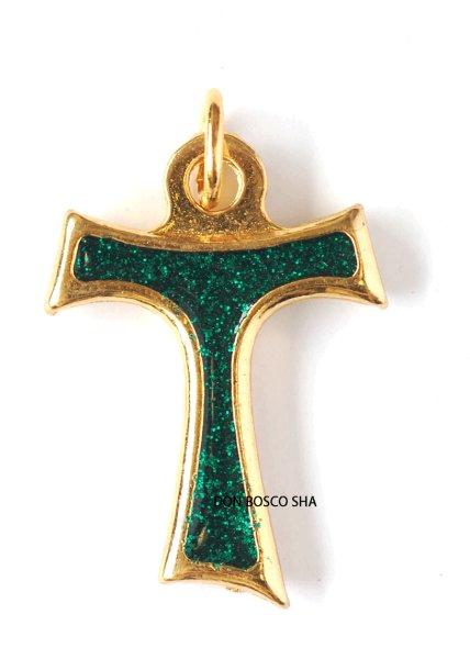 画像1: ミニ十字架 タウの十字架 ラメエメラルドグリーン (1)