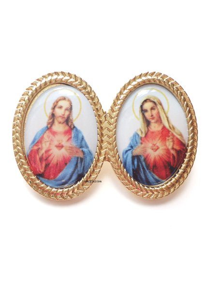 画像1: ピンバッジ み心のイエスとマリア (1)