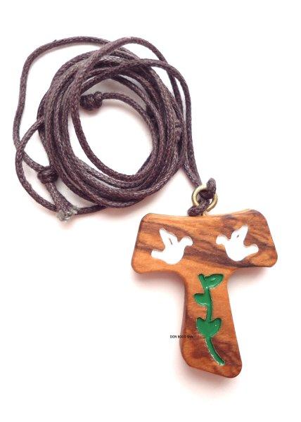 画像1: ペンダント オリーブ製 タウ十字架 ハトの絵 (1)