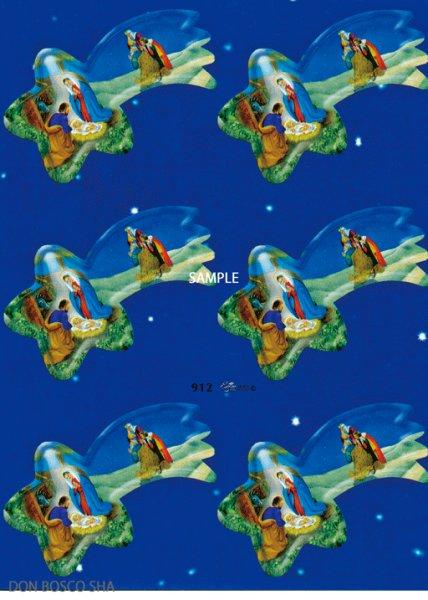 画像1: イタリア製クリスマスシール 流れ星型ご降誕 30086 912 (1)