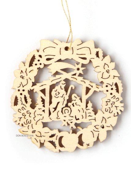 画像1: クリスマス聖品 木彫型抜き クリスマスオーナメント リース型 「ご降誕」 (1)