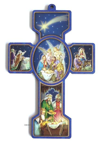 画像1: クリスマス聖品 壁掛板絵十字架 ご降誕(125-12) (1)