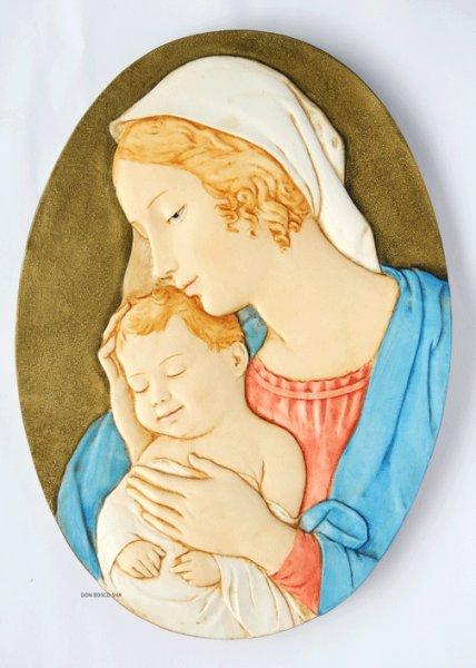 画像1: 壁掛け板絵 楕円 聖母子 NB (1)