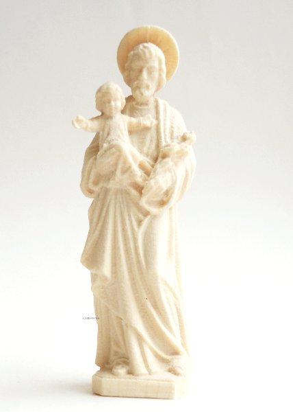 画像1: 木彫り ヨセフと幼子 白木 7cm (1)