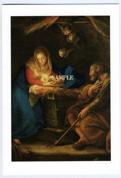 画像1: 二つ折りカード 名画 ご降誕 HC2427 (1)