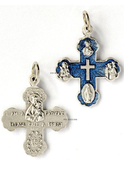 画像1: ミニ十字架 4メダイ付 青 H21mm (裏面:私はカトリック信者です) (1)