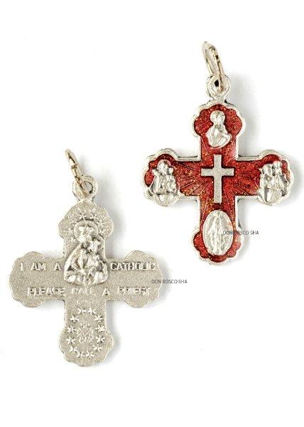 画像1: ミニ十字架 4メダイ付 赤 H26mm (裏面:私はクリスチャンです) (1)