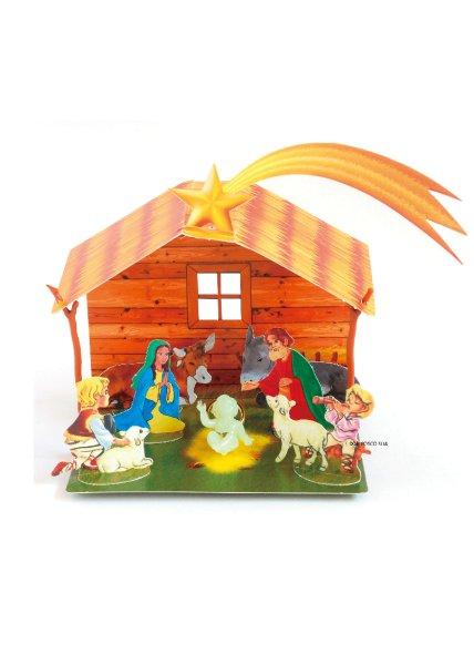 画像1: クリスマス聖品 紙製 馬小屋組み立てタイプ 蛍光幼子付き P25 (1)