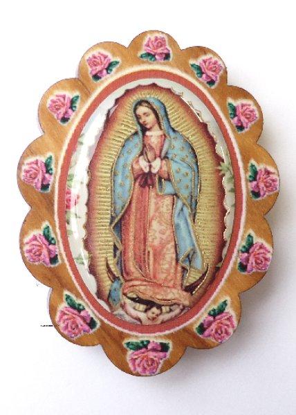 画像1: マグネット オリーブ製 花形 グアダルペの聖母 (1)
