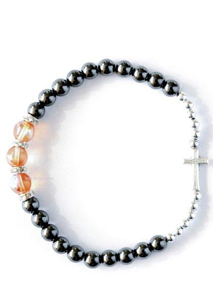画像1: ロザリオ ブレスレット ヘマタイト+銀色珠 (1)
