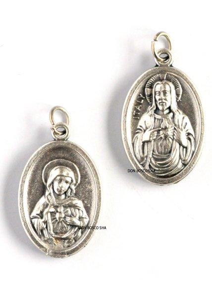 画像1: 両面メダイ み心のイエスとマリア 楕円銀色 (1)