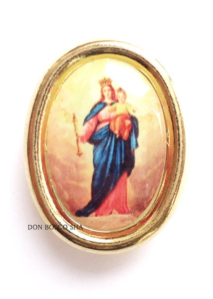 画像1: ピンバッジ 扶助者聖母 金色 (1)