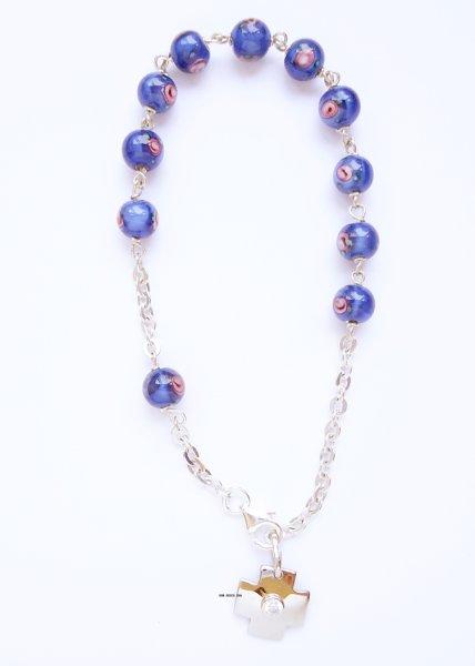 画像1: ロザリオブレスレット シルバー&ベネチアンガラス珠 ばらの絵付 ブルー NB (1)