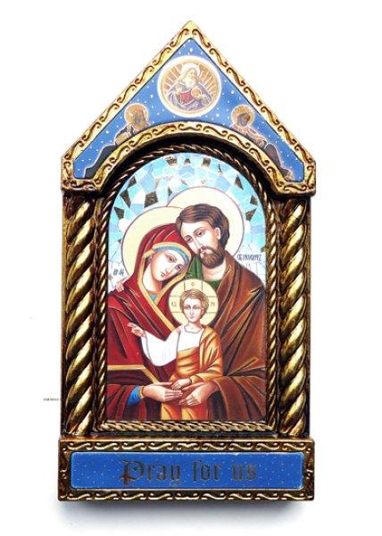 画像1: 壁掛/両用 板絵 イコン聖家族 (1)