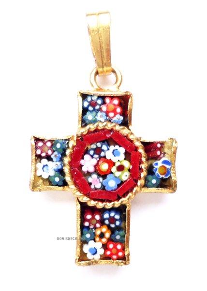 画像1: ミニ十字架 フィレンツェモザイクペンダントトップ 金メッキ (1)