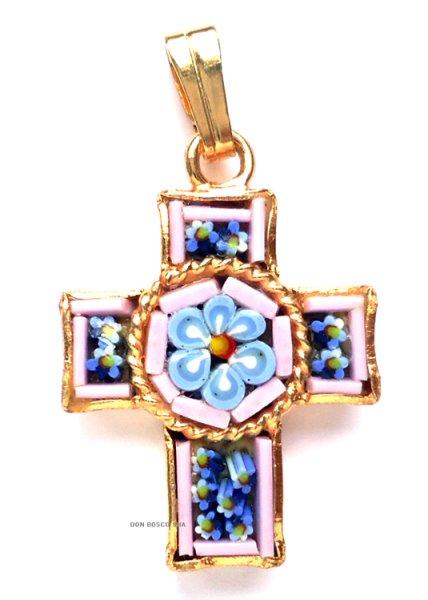 画像1: ミニ十字架 フィレンツェモザイクペンダントトップ 金メッキ(※色はアソート入荷のため指定できません) (1)