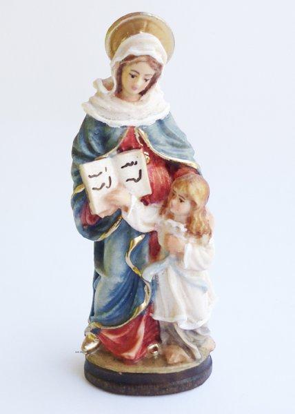 画像1: 木彫り 聖アンナと幼いマリア像 6.5cm 色付 NB (1)