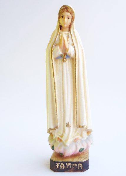 画像1: ご像 木彫り ファティマのマリア 色付 6.4cm (1)
