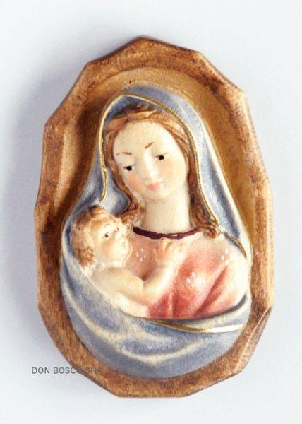 画像1: 木彫り 壁掛け 聖母子 (縁あり)カラー (1)