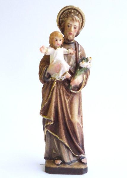 画像1: 木彫り 聖ヨセフと幼子イエス 色付き 7cmNB (1)