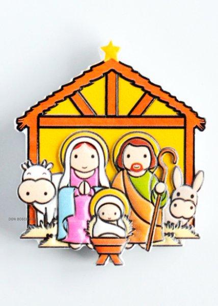 画像1: 樹脂製 クリスマス マグネット降誕 聖家族+牛ロバ (1)