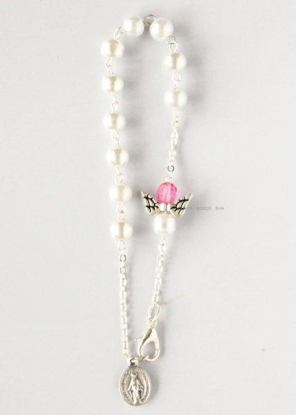 画像1: ロザリオブレスレット パール調珠 天使 ピンク (1)