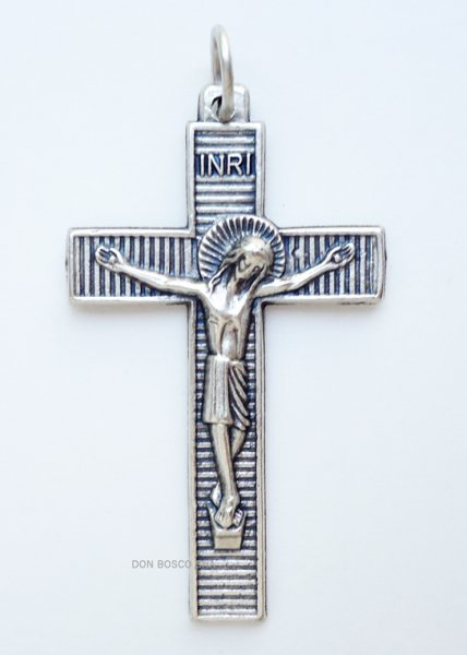 画像1: ミニ十字架 縞模様 銀色 (1)