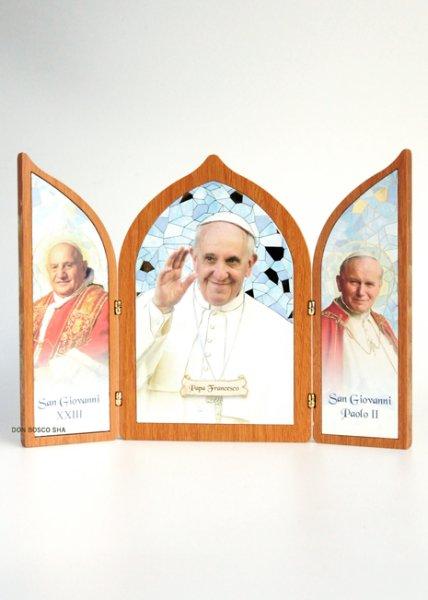 画像1: 卓上置物 3面板絵 3教皇 (ヨハネ23世/フランシスコ/ヨハネ・パウロ2世) (1)