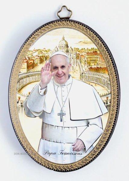 画像1: 壁掛板絵楕円  教皇フランシスコ (1)