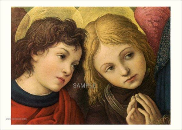 画像1: 二つ折りカード名画 祈る2天使 (1)