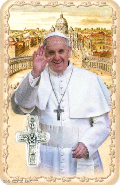 画像1: ミニ十字架付きパウチカード 教皇フランシスコ M54 NB (1)