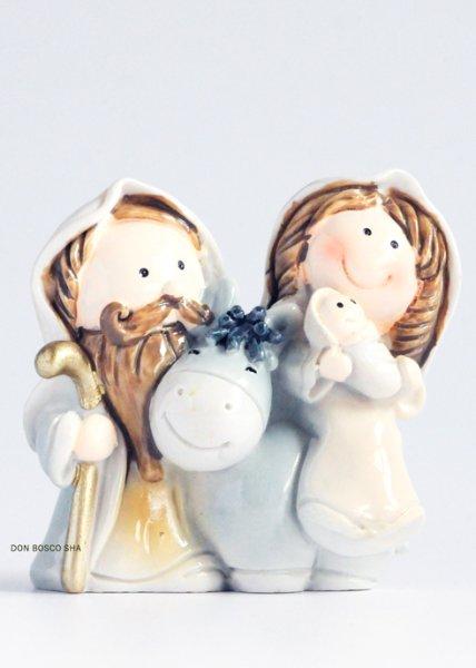 画像1: クリスマス 卓上置物 聖家族とロバ P538 (1)