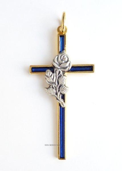 画像1: ミニ十字架 バラ (1)