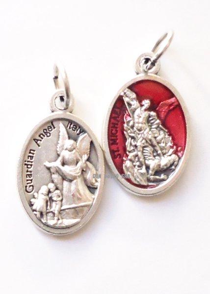 画像1: メダイ 両面 聖ミカエル(銀+赤)&守護の天使(銀色) (1)