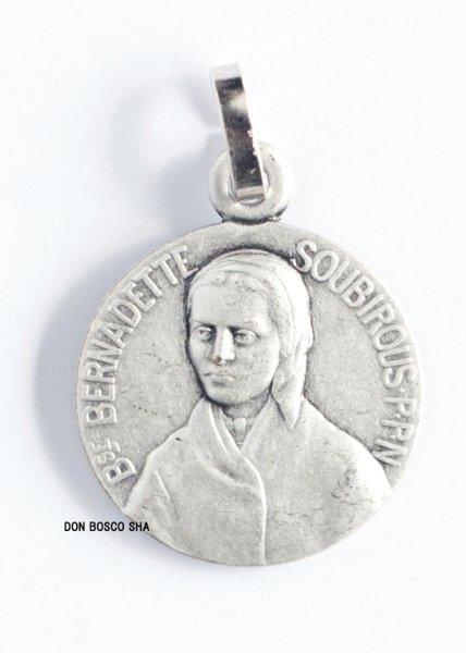 画像1: フランス製メダイ 聖ベルナデッタ真鍮製銀メッキ16mm (1)