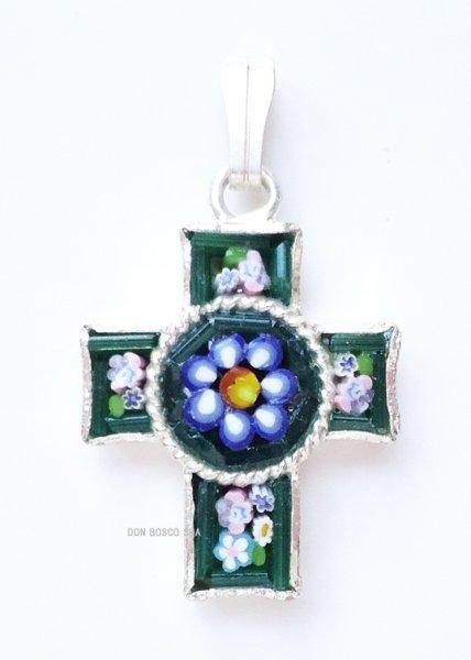 画像1: ミニ十字架 フィレンツェモザイクペンダントトップ 銀メッキ (1)