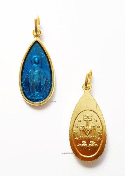 画像1: メダイ 無原罪の聖母 しずく型 金+ブルー324 (1)