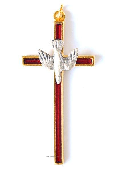 画像1: ミニ十字架 聖霊 赤 (金ぶち) (1)