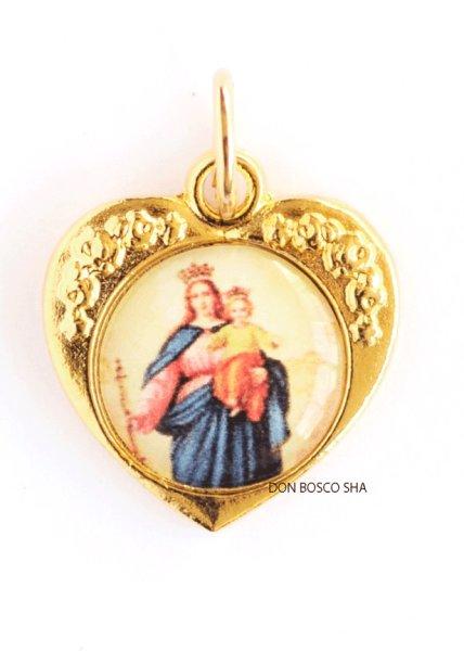 画像1: メダイ ハート型 扶助者聖母 金色1.6cm (1)