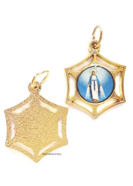 画像1: メダイ 無原罪の聖母 六角形 金色 (1)